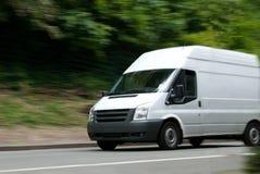 Branco Van Moving Rápido Fotografia de Stock