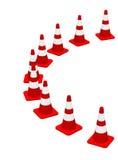 branco vermelho 16 dos cones 3D Fotografia de Stock