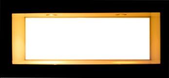 Brancos vazios assinam dentro um quadro de madeira Imagens de Stock