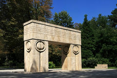 Brancusi's Gate of the Kiss. The Gate of the Kiss(Poarta Sarutului) is the second element of the Sculptural Ensemble of Constantin Brâncuşi from Târgu Jiu Royalty Free Stock Photos