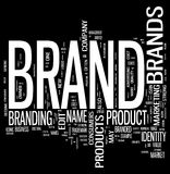 Brand. Word cloud on black background Royalty Free Stock Photos