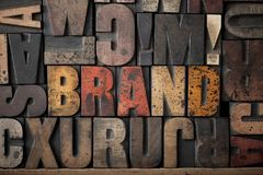 BRAND. The word 'Brand' spelled out in very old letterpress blocks royalty free stock photos