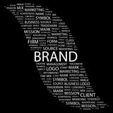 BRAND. Word collage on black background. Vector illustration. Illustration with different association terms Stock Photo