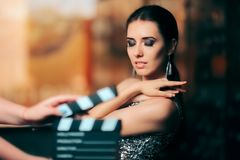 Glamorous Model Starring in Fashion Campaign Video Commercial Stock Images