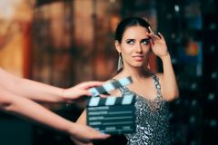 Model Acting in Perfume Commercial Ready to Film New Scene Royalty Free Stock Image