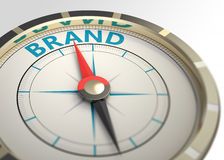 Brand as a concept word. Compass and an arrow pointing to the word brand Royalty Free Stock Image
