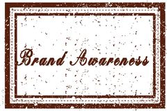 BRAND AWARENESS brown square distressed stamp. Illustration image Stock Images