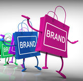 Brand Bags Represent Marketing Brands and Labels Stock Photos