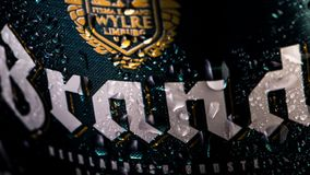 Brand beer can, close up, water droplets / condensation on the beer can. stock photography