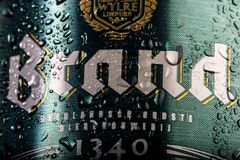 Brand beer can, close up, water droplets / condensation on the beer can. royalty free stock photo