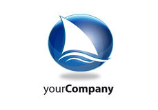 Brand boat. Brand stylized sailing boat with reflections Stock Images