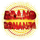 Brand bonanza badge. Brand bonanza with gold outline and halftone effect on white background Royalty Free Stock Photo