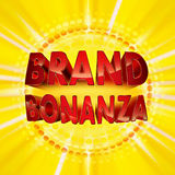 Brand bonanza badge. Brand bonanza with gold outline and halftone effect on yellow background stock illustration
