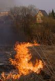 Brand - bränna av ett torrt gräs Fotografering för Bildbyråer
