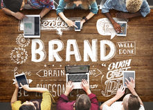 Brand Branding Advertising Commercial Marketing Concept. Diverse People Brand Advertisement Concept stock photography