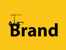 Brand branding development illustration with sillhouette text crane bulldozer and construction. Brand branding development illustration with sillhouette text royalty free illustration