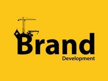 Brand branding development illustration with sillhouette text crane bulldozer and construction. Brand branding development illustration with sillhouette text stock illustration