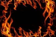 Brand brder op een zwarte achtergrond. Stock Afbeelding