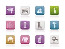Brand-brigade en brandweermanapparatuur pictogram Stock Afbeeldingen