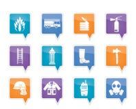 Brand-brigade en brandweermanapparatuur pictogram Stock Fotografie