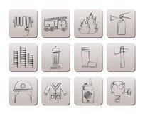 Brand-brigade en brandweermanapparatuur pictogrammen Royalty-vrije Stock Afbeelding