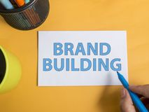 Brand Building. Business Marketing Words Typography Concept. Brand Building. Motivational inspirational business marketing words quotes lettering typography royalty free stock photography