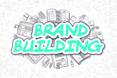 Brand Building - Doodle Green Inscription. Business Concept. Stock Photo
