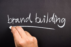Brand Building. Hand writing Brand Building topic on chalkboard Stock Photo