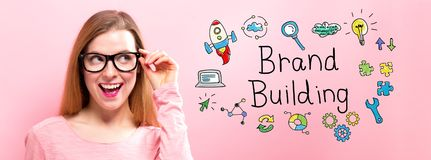 Brand Building with happy young woman Royalty Free Stock Images