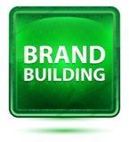 Brand Building Neon Light Green Square Button vector illustration