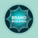 Brand Building magical glassy sunburst blue button sky blue background royalty free illustration