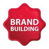 Brand Building misty rose red starburst sticker button stock illustration
