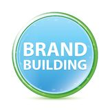 Brand Building natural aqua cyan blue round button vector illustration