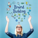 Brand Building with young woman stock photo