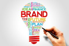 BRAND. Bulb word cloud, business concept royalty free stock photos