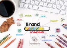 Brand , Business concept. Chart with keywords and icons. White office desk Royalty Free Stock Photo