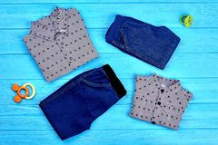 Brand clothes for toddler boys. Little boys fashion outfit. Set of trendy clothes and accessories for little boys royalty free stock images