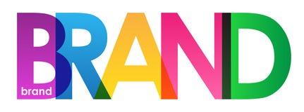 BRAND colorful semi-transparent letters banner vector illustration