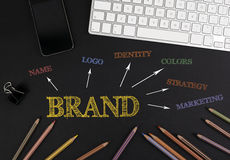 Brand Concept - black office desk royalty free stock images
