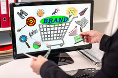 Brand concept on a computer monitor Stock Image