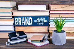 Brand concept. Design, marketing and trust royalty free stock photo