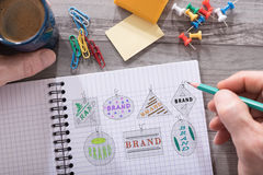 Brand concept on a notepad. Brand concept drawn on a notepad placed on a desk royalty free stock images