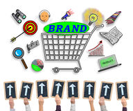 Brand concept on a whiteboard Royalty Free Stock Photos