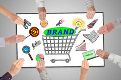 Brand concept on a whiteboard Royalty Free Stock Images