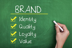 Brand. Concept words identity quality loyalty value stock photos