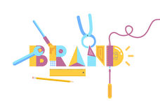 Brand construction concept. Vector illustration of brand construction concept. Isolated on white background stock illustration