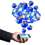 Brand cube icons streaming on smart phone Stock Photo