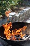 Brand in de grill van de ketelbarbecue Royalty-vrije Stock Afbeeldingen