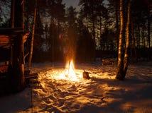 Brand in de nacht Royalty-vrije Stock Foto