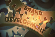 Brand Development Concept. Golden Gears. 3D Illustration. Royalty Free Stock Photos